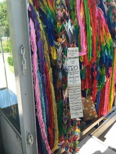 A picture of the 3000 cranes that were delivered to the Children's Peace Memorial in Hiroshima.